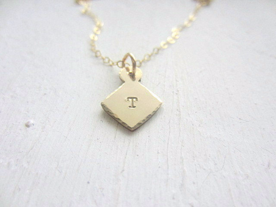 diamond charm initial necklace in gold - rebelbyfate jewelry