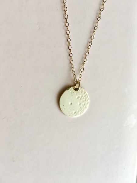 large gold filled full moon necklace