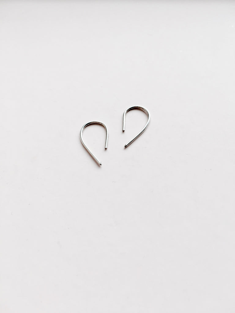 hook threader earrings in sterling silver