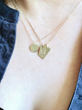 initial dog tag necklace, solid gold + sterling silver - andJules Jewelry