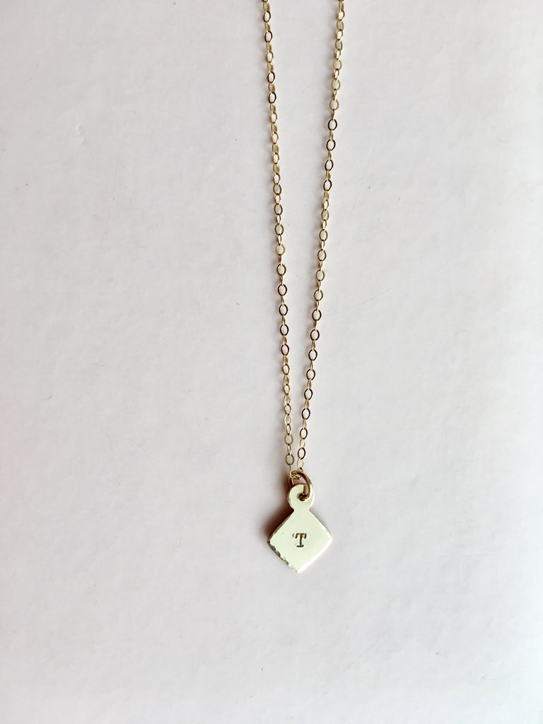 diamond charm initial necklace in gold