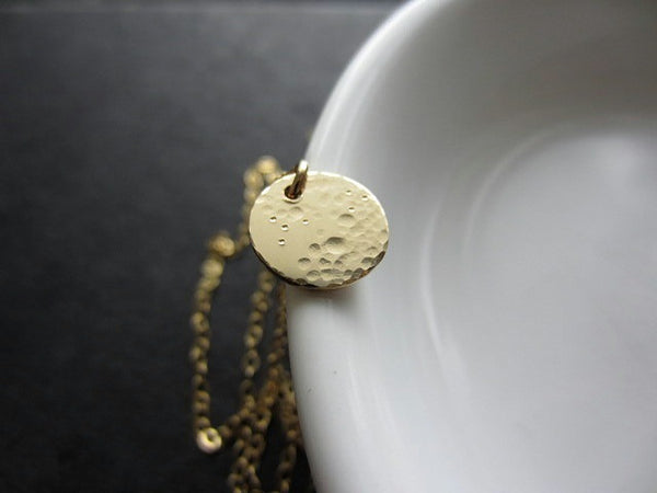 small lullaby full moon necklace in gold filled