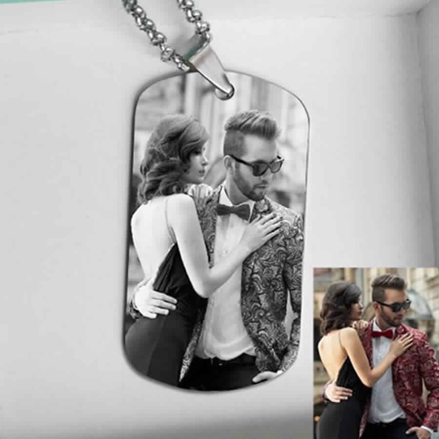 Personalized Photo Words Engraved Stainless Steel Tag Neckl