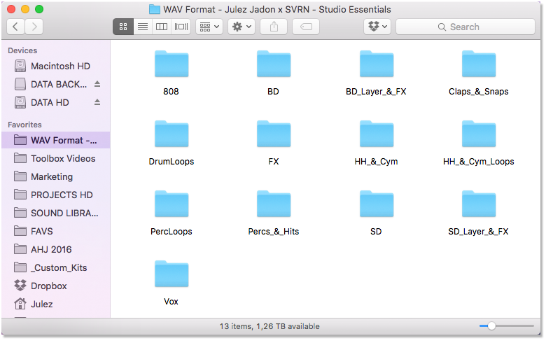Studio Essentials Drum Kit Folder