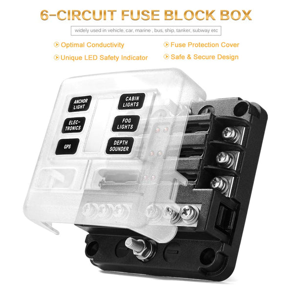 mictuning 12-way blade fuse box with led warning indicator & damp-proof  cover