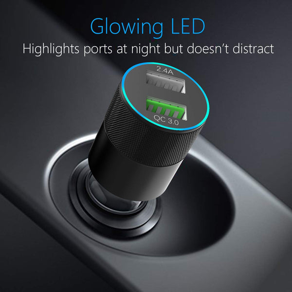 USB Type C Car Charger,Quick Charge 3 0 Enabled, Rapid Dual Port USB Car  Charger+3ft Type C Cord Compatible for Galaxy S9/S9+/S8/S8 Plus/Note 8,LG