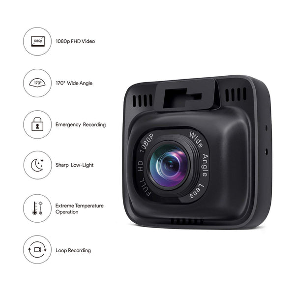 Dashboard Camera with G-Sensor AUKEY Car Camera 4K Dash Cam 6-Lane Wide-Angle Lens HDR Night Vision Loop Recording and Dual-Port Car Charger