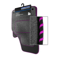 View of a collection of Tailored custom car mats, specifically BMW Mini R58 Coupe (2010-present) Custom Carpet Car Mats