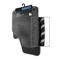 View of a collection of Tailored custom car mats, specifically Jeep Wrangler 2DR (2007-2017) Custom Carpet Car Mats