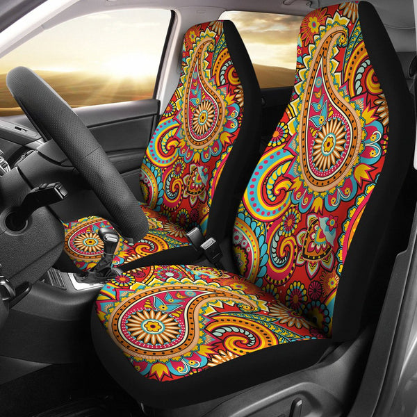 Crimson Paisley Car Seat Covers - 2 Piece Front Universal Fit