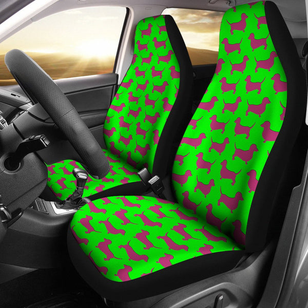 Dog Green Pattern Car Seat Covers - 2 Piece Front Universal Fit