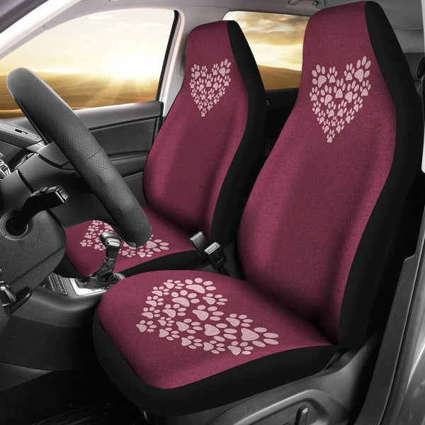 Burgundy Heart Paw Print Car Seat Covers - 2 Piece Front Universal Fit