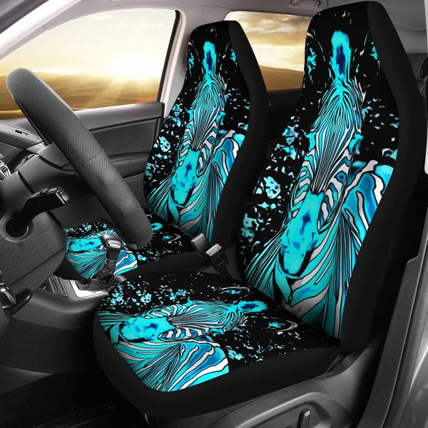 Neon Zebra Car Seat Covers - 2 Piece Front Universal Fit