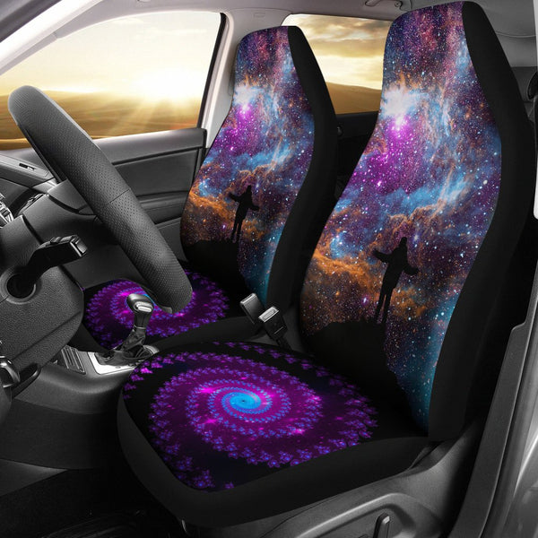 Purple Galaxy Car Seat Covers - 2 Piece Front Universal Fit