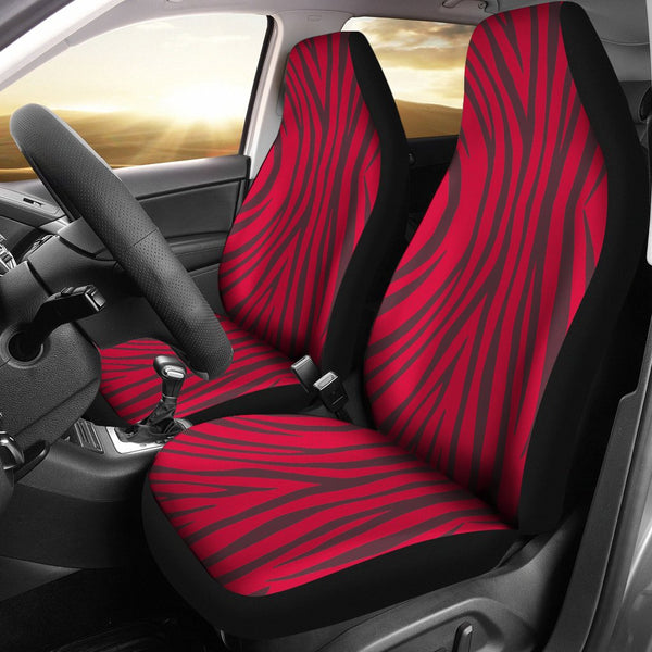 Crimson Zebra Print Car Seat Covers - 2 Piece Front Universal Fit