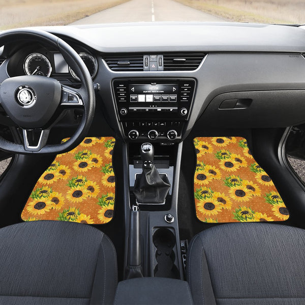 Yellow Sunflower Car Mats - 4 Piece Set