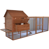 Pawhut 144- Large Backyard Hen House Chicken Coop w- Long Run