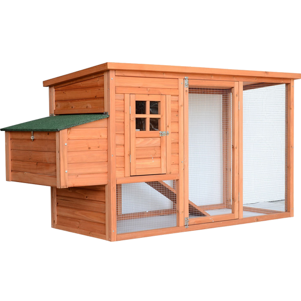 Pawhut 78 Deluxe Wooden Chicken Coop  Hen House w Backyard Run