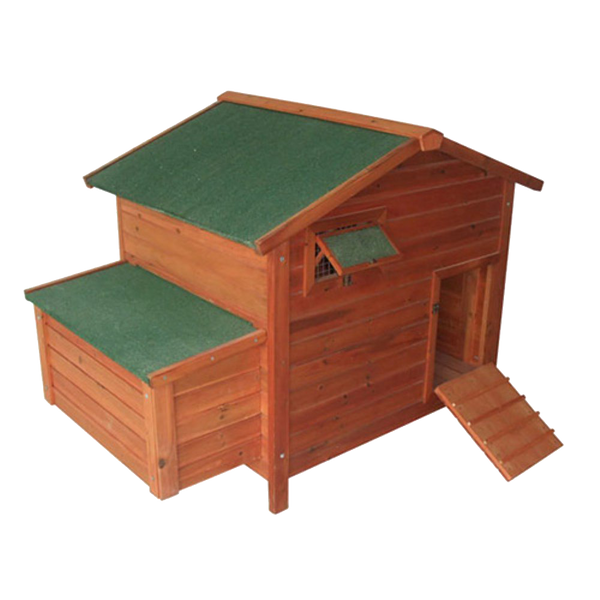 Pawhut Deluxe Wooden Large Chicken Coop-Hen House with 2 Roosting Poles