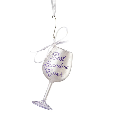 Best Grandma Ever Mini Wine Glass Ornament by Lolita®