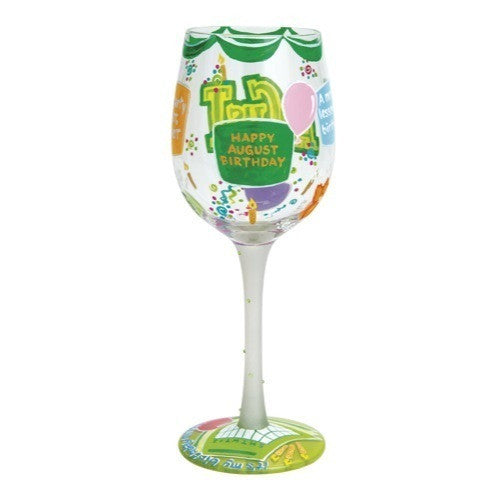 Happy August Wine Glass by Lolita®