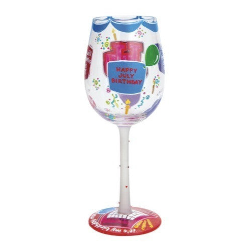 Happy July Wine Glass by Lolita®