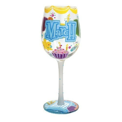 Happy March Wine Glass by Lolita®