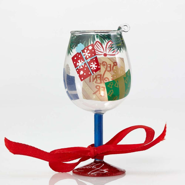 Best Present Ever Mini Wine Glass Ornament by Lolita®