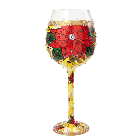 Poinsettia Super Bling Wine Glass by Lolita®