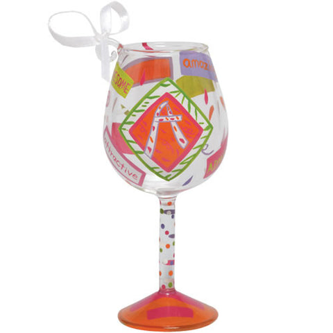 """A"" Mini Wine Glass Ornament by Lolita®"