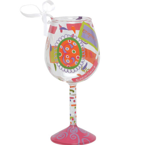 """E"" Mini Wine Glass Ornament by Lolita®"