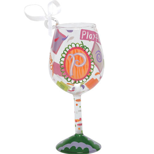 """P"" Mini Wine Glass Ornament by Lolita®"