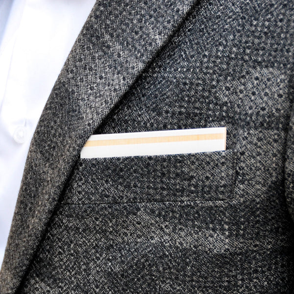 Au Lait Wooden Pocket Square Product Page - A-Side Image 1 - K.I.S.S. Collection - BAFFI