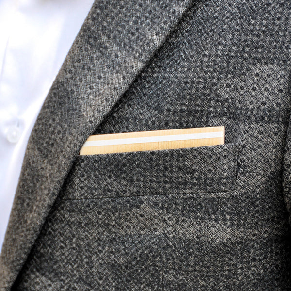 Au Lait Wooden Pocket Square Product Page - B-Side Image 1 - KISS Collection - BAFFI