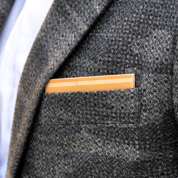 Butterscotch Wooden Pocket Square Product Page - A-Side Image 1 - K.I.S.S. Collection - BAFFI