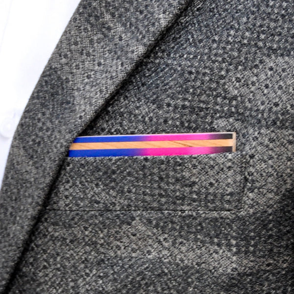 Electric Avenue Wooden Pocket Square Product Page - A-Side Image 1 - The Blurred Line - BAFFI
