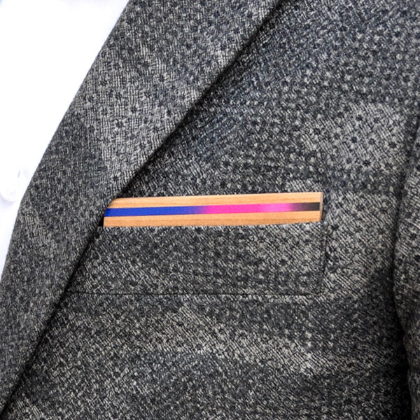 Electric Avenue Wooden Pocket Square Product Page - B-Side Image 1 - The Blurred Line - BAFFI