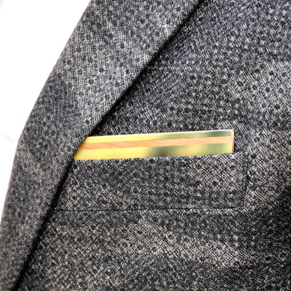 Goldfinch Wooden Pocket Square Product Page - A-Side Image 1 - The Blurred Line - BAFFI