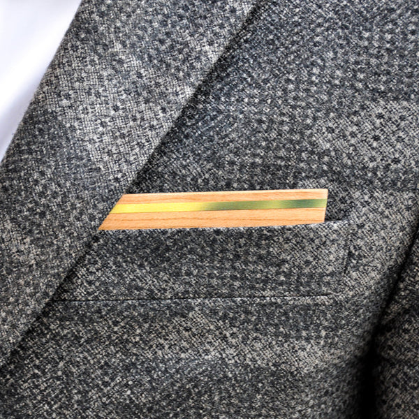 Goldfinch Wooden Pocket Square Product Page - B-Side Image 1 - The Blurred Line - BAFFI