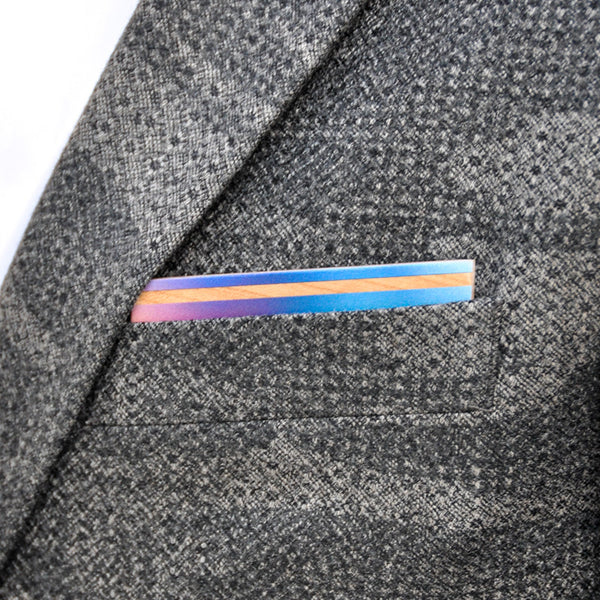 Psych Out Wooden Pocket Square Product Page - A-Side Image 1 - The Blurred Line - BAFFI