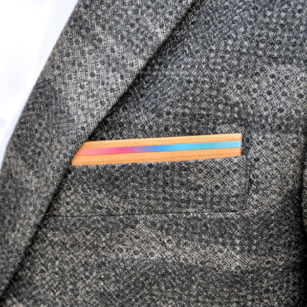 Psych Out Wooden Pocket Square Product Page - B-Side Image 1 - The Blurred Line - BAFFI