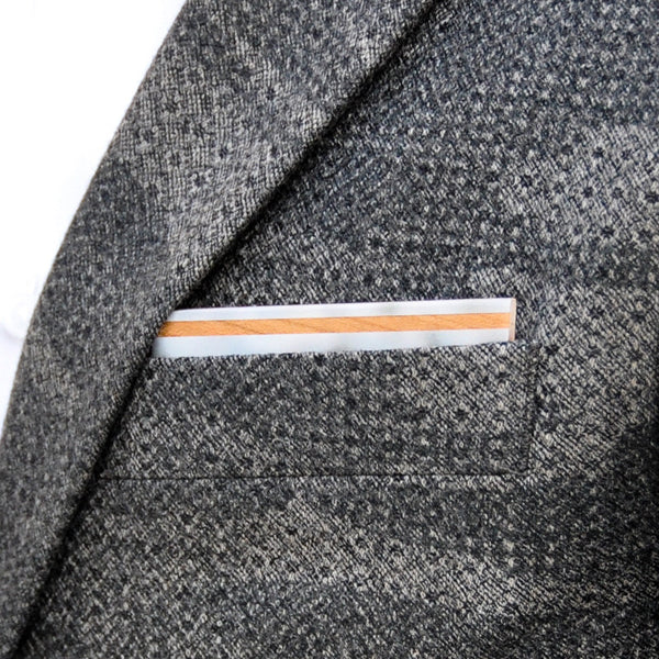 Spotted Owl Wooden Pocket Square Product Page - A-Side Image 1 - The Blurred Line - BAFFI