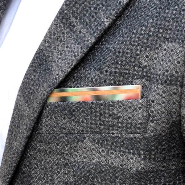 Watermelon Wooden Pocket Square Product Page - A-Side Image 1 - The Blurred Line - BAFFI