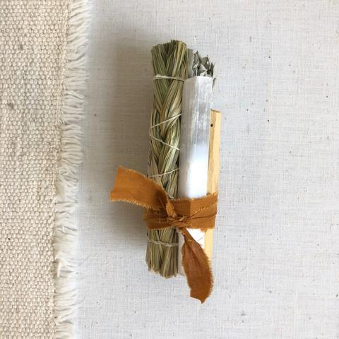 Large Sweet Grass and Selenite Bundle