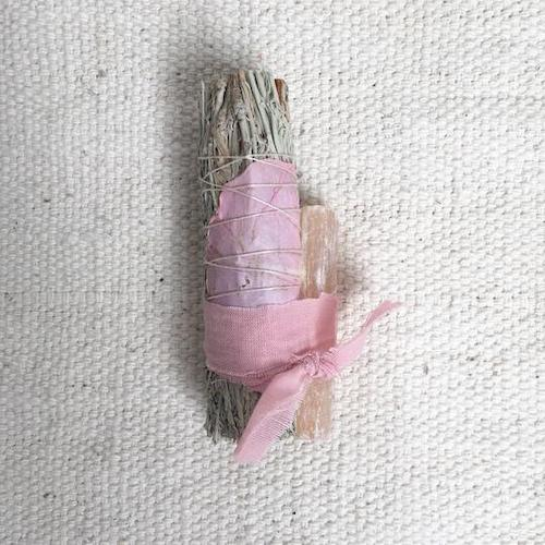 Pink Selenite Sage Bundle