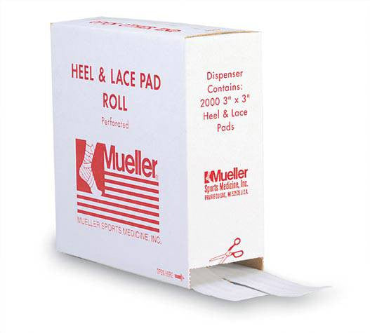"Mueller heel and lace pad, 3""x3""x1/16"""