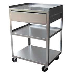 Ideal Cart, Stainless Steel, 3 Shelf with Drawer