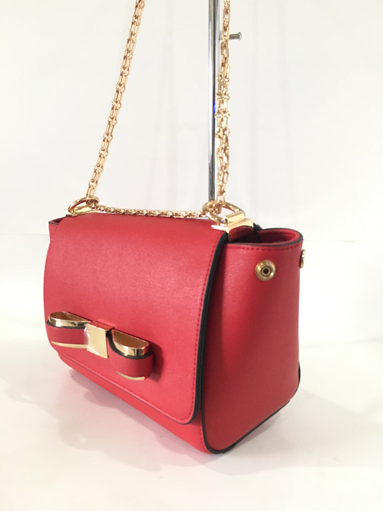 Bow Leather Bag with chain straps