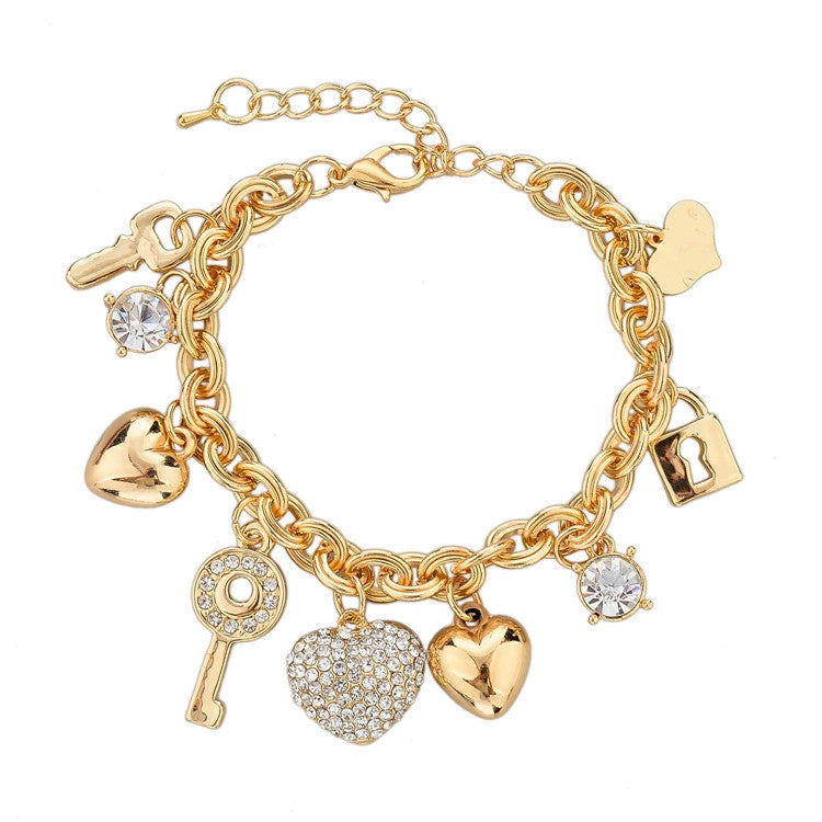 Heart Key Lock Gold Plated Bracelet Austrian Crystal Chain Bracelets