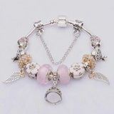 Crown Wings Flower and Heart Charm Bracelet